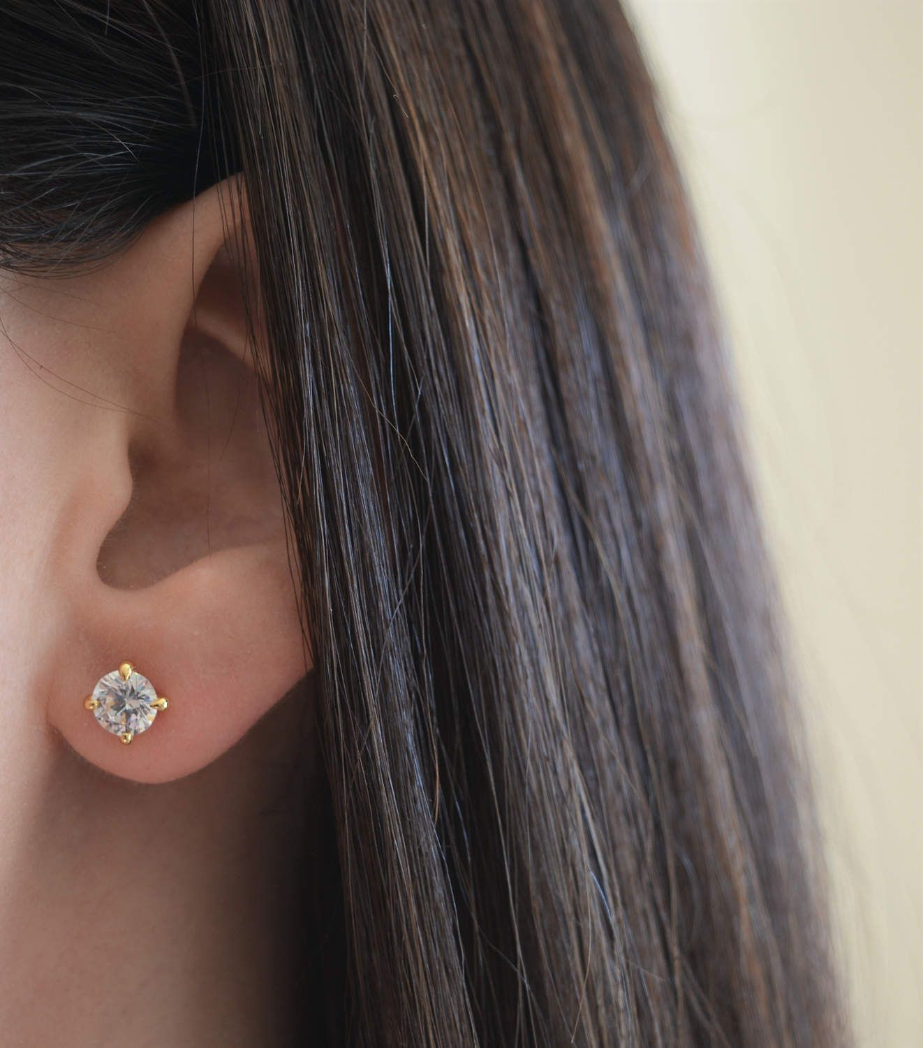 Gold  Zirconia Double Rounds Earring Ear Stud Over Genuine 925 Sterling Silver