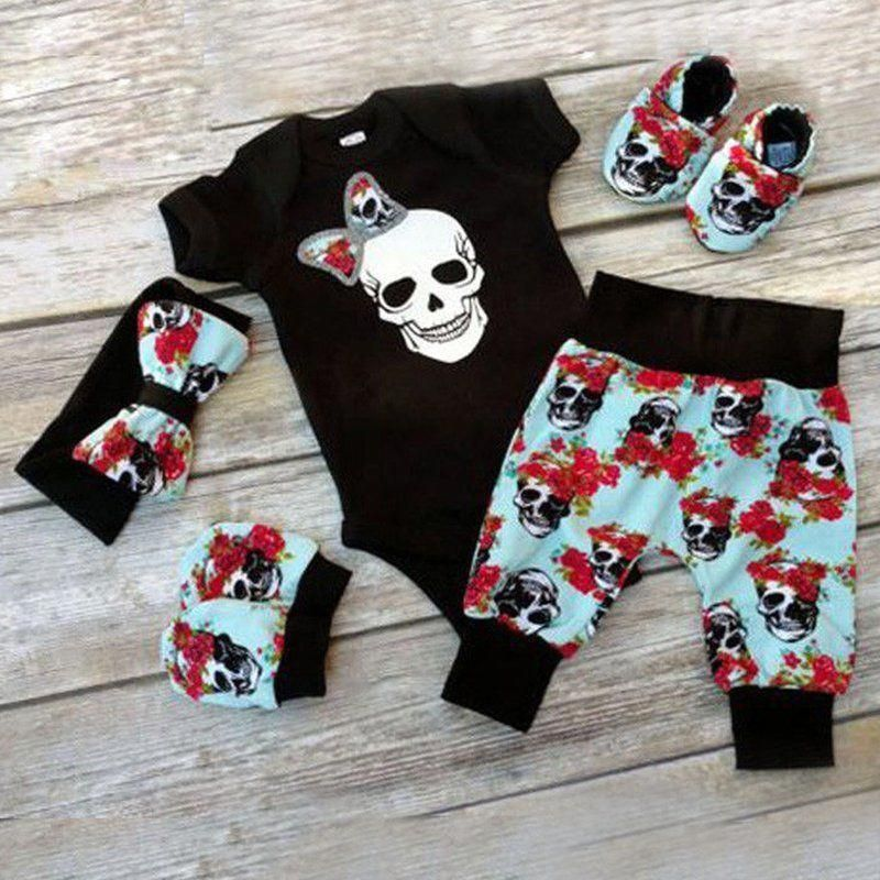 4a497dc4c 4PCS Newborn Infant Baby Boy Girl Skull Clothes Romper Bodysuit+Pants Outfit  Set | Clothing, Shoes & Accessories, Baby & Toddler Clothing, Girls'  Clothing ...
