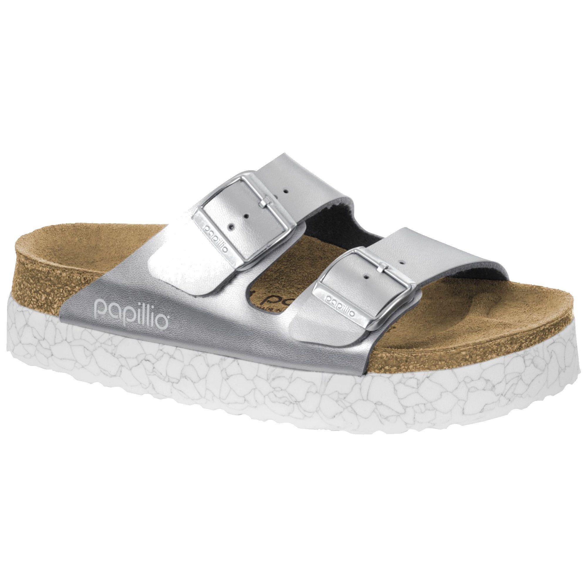 55fef260b6a Birkenstock Women s Arizona Platform Monochrome Marble Silver Birko Sandals  (N)