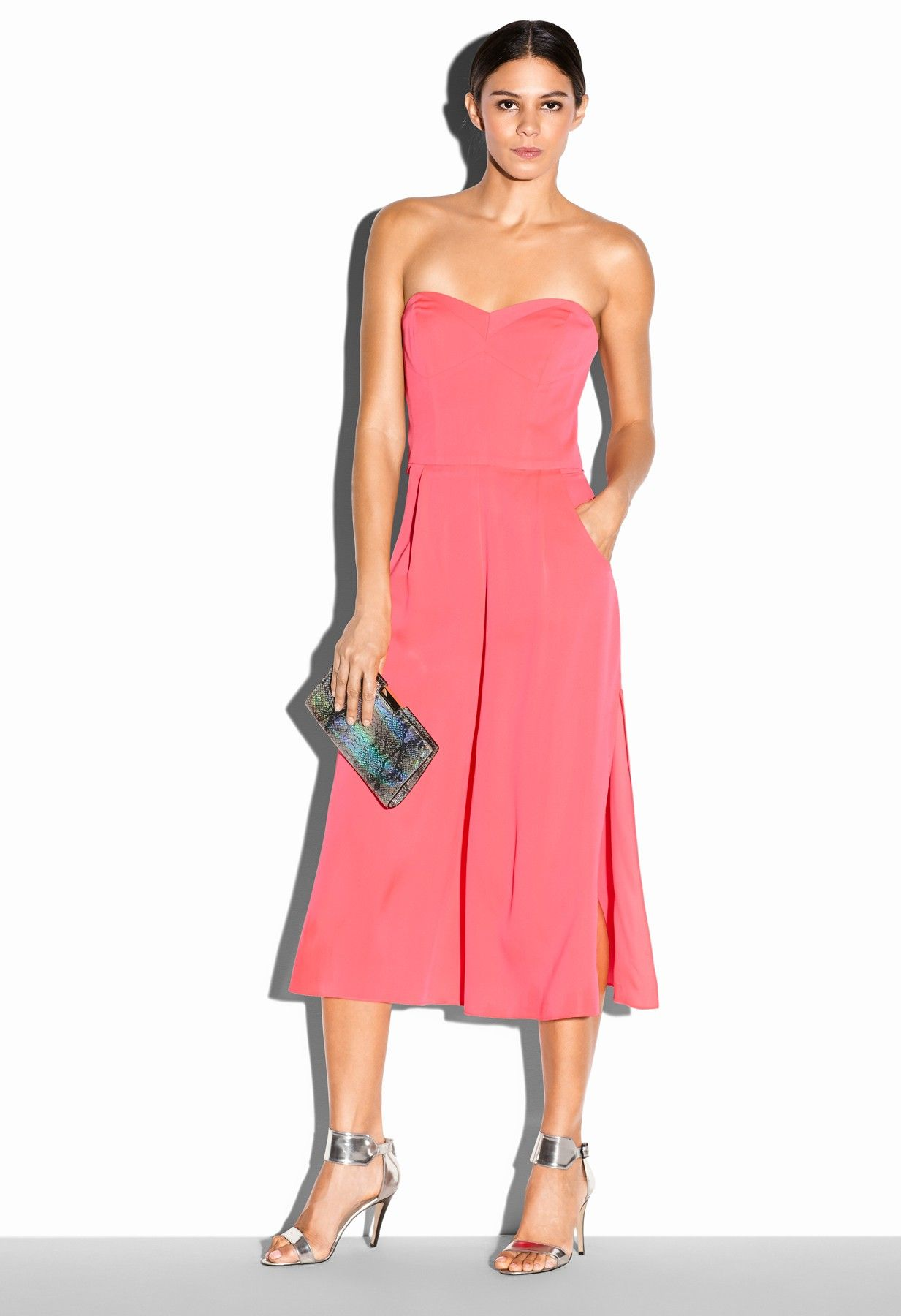 c854abac9596 Milly  STRAPLESS CULOTTE JUMPSUIT pink