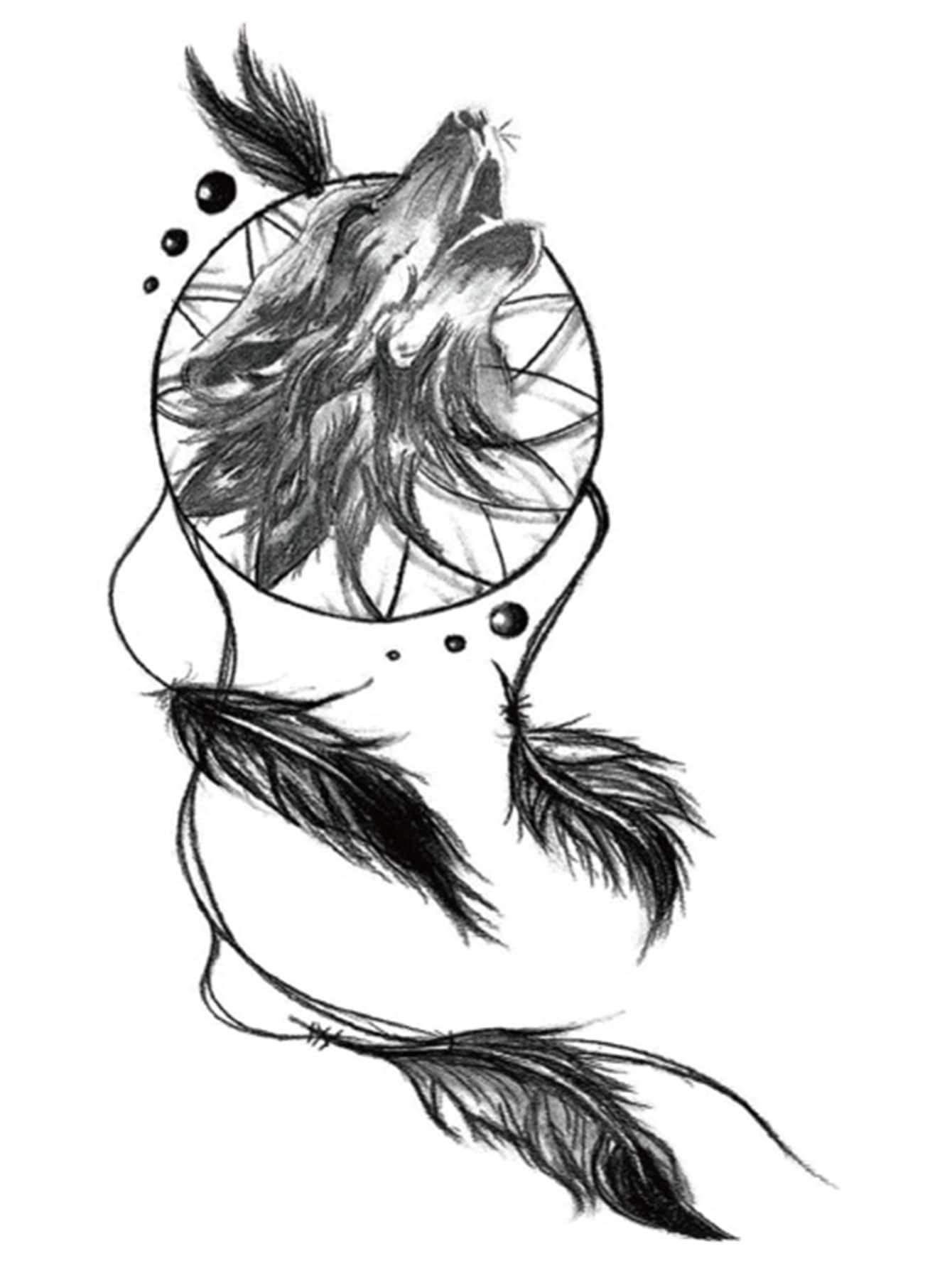Dreamcatcher Pattern Tattoo Sticker 1sheet Wolf Dreamcatcher Tattoo Feather Tattoos Dream Catcher Tattoo