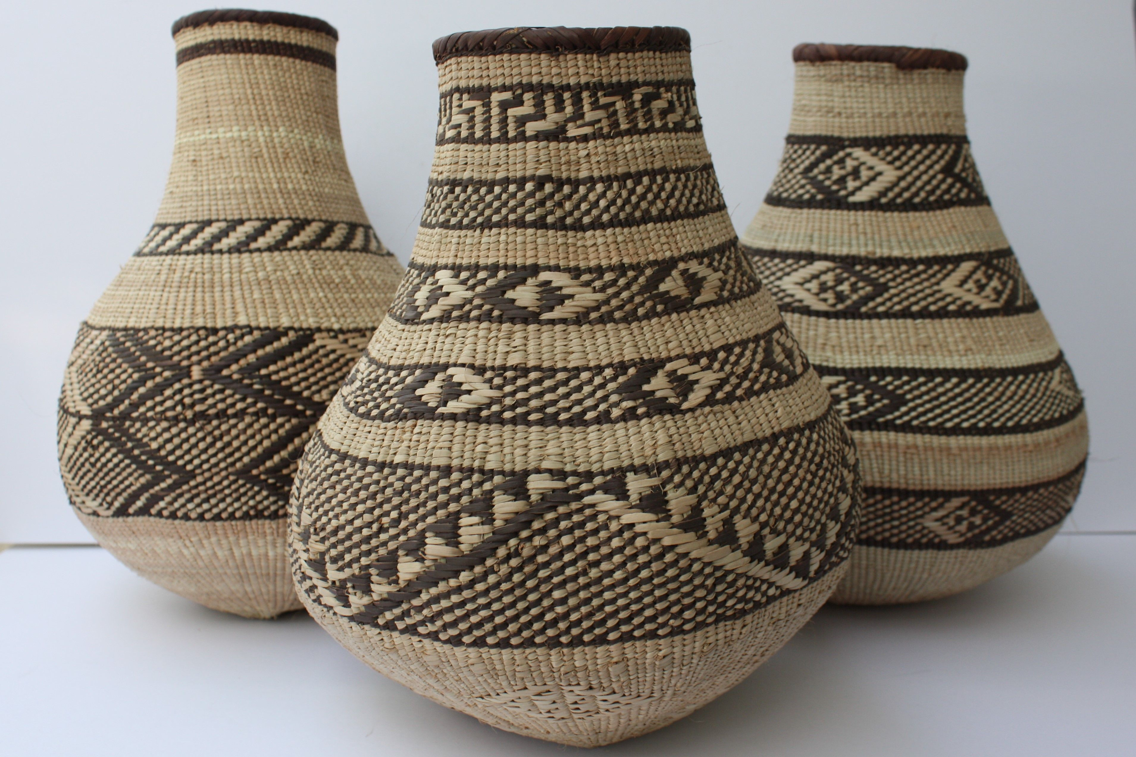 Beautiful Zimbabwean Binga Calabash Baskets, Woven By Talented Artisans, Available