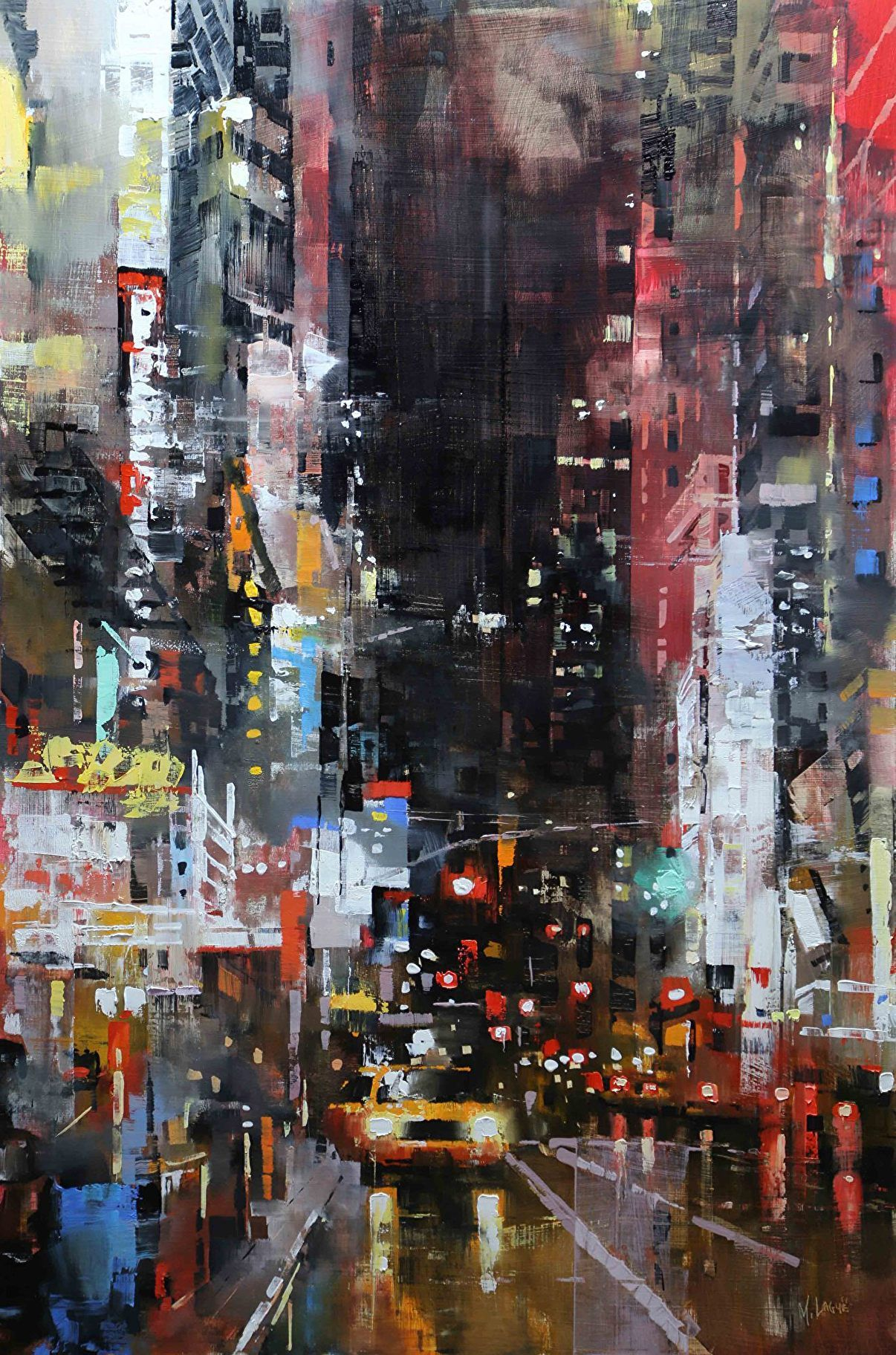 Manhattan Night Lights By Mark Lague Oil 36 X 24 City Painting Cityscape Art Cityscape Painting