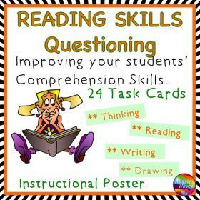 Grade / Year Level :: Primary Education :: Year 3 - 6 :: Reading Activity Comprehension Skills Questioning Poster and Task Cards