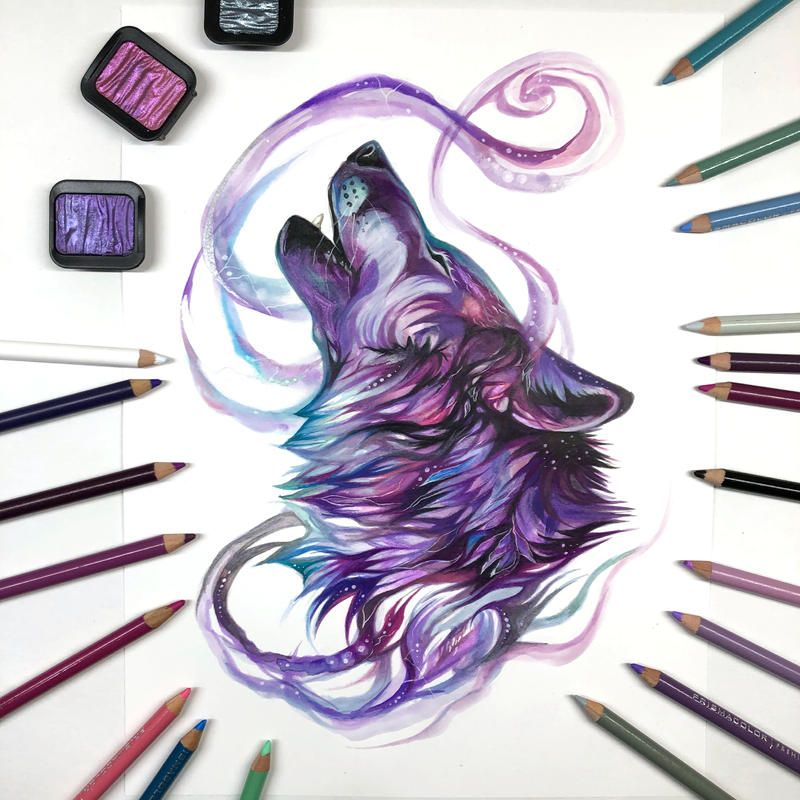 Day 200: Purple and Teal Howling Wolf by Lucky978 on DeviantArt