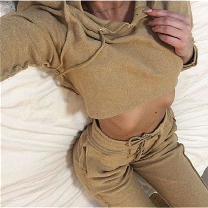 2017 Women s Tracksuit Suit New Fashion Cotton Sexy Short Hoodies Long Pant  2 Piece Set Sudaderas Kawaii High Quality aa0aff4922