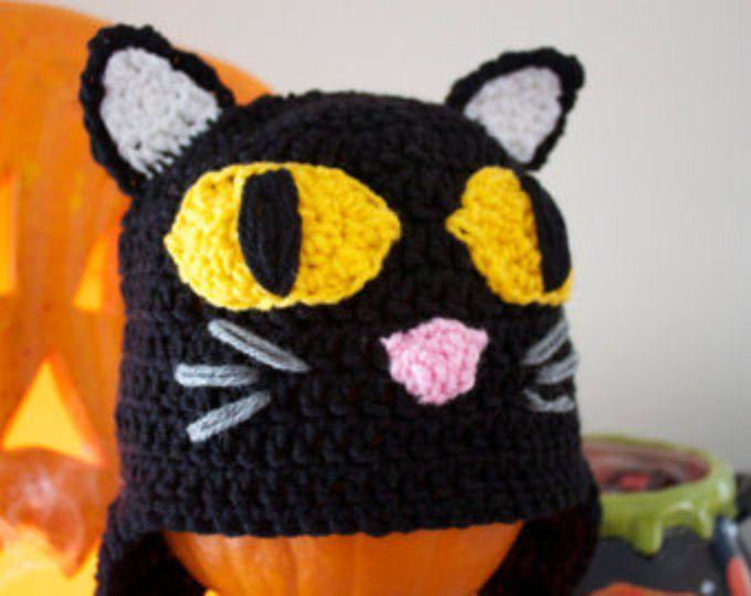 c356bd75067 www.etsy.com shop MaxineVelasquez Crochet Black Cat hat with earflaps and