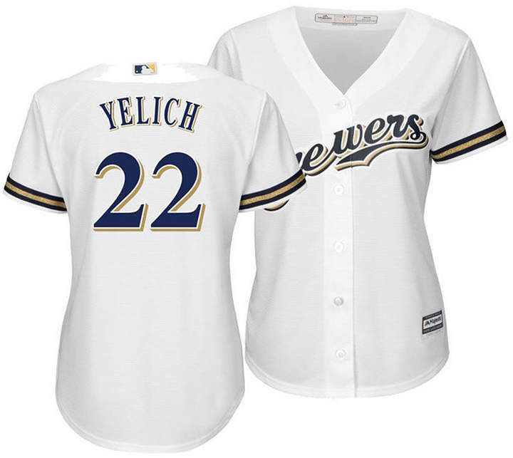 timeless design 8e172 3e1cc Women's Christian Yelich Milwaukee Brewers Cool Base Player ...