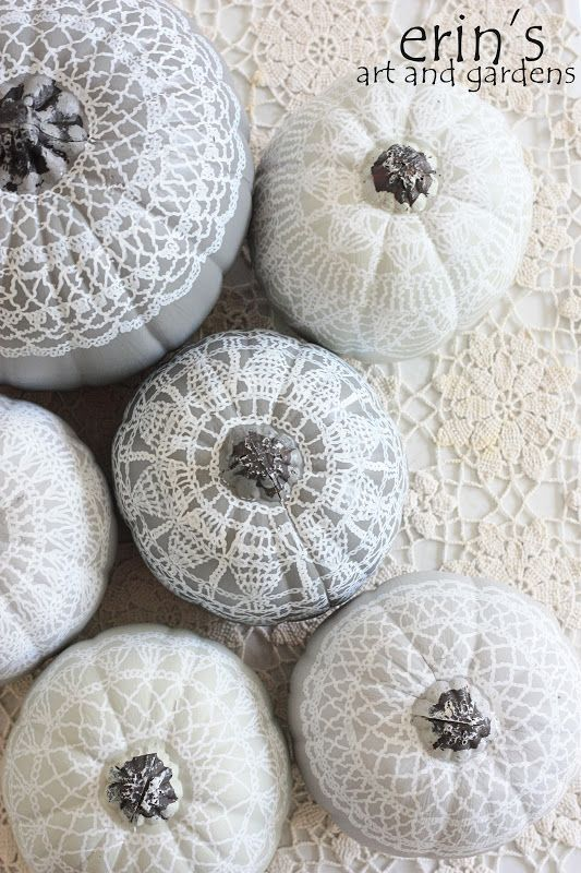 hand painted doily pumpkins by erin's art and gardens