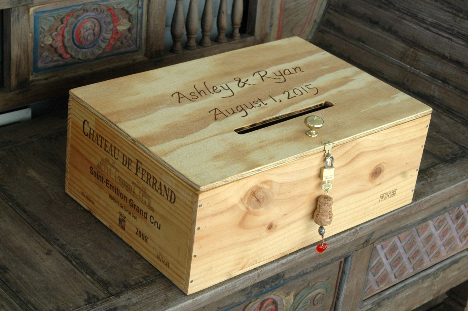 French Wedding Gifts: Wine Crate Wedding Card Box, French Wine Crate Storage Box