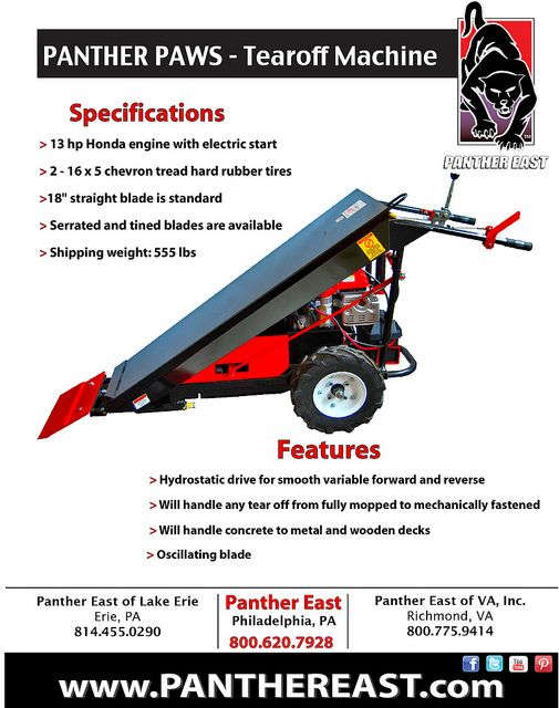 Panther The Panther Paws Tear Off Machine Roofing Tools Panther Commercial Roofing