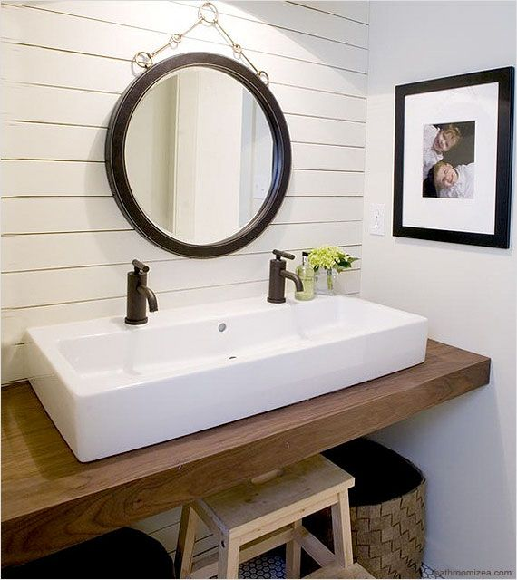No room for a double sink vanity try a trough style sink with two faucets for a space saving for Pictures of bathrooms with double sinks