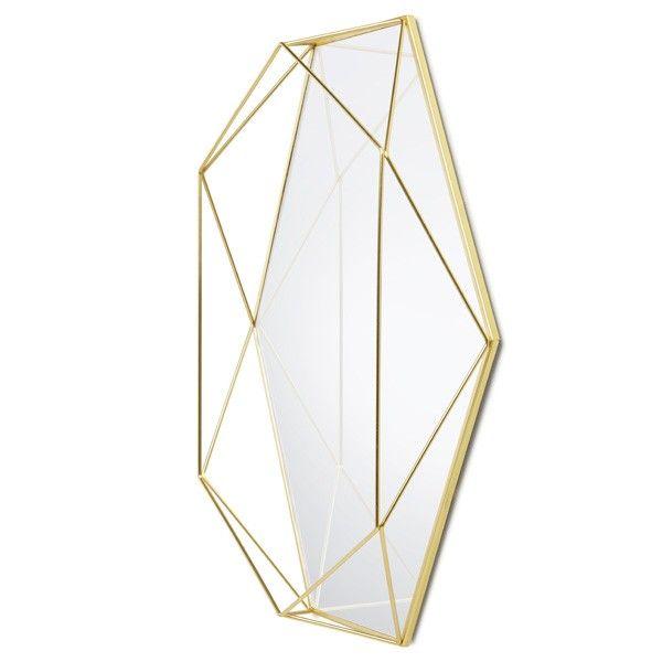 Umbra Prisma Mirror - Brass - geometrical outline mirror
