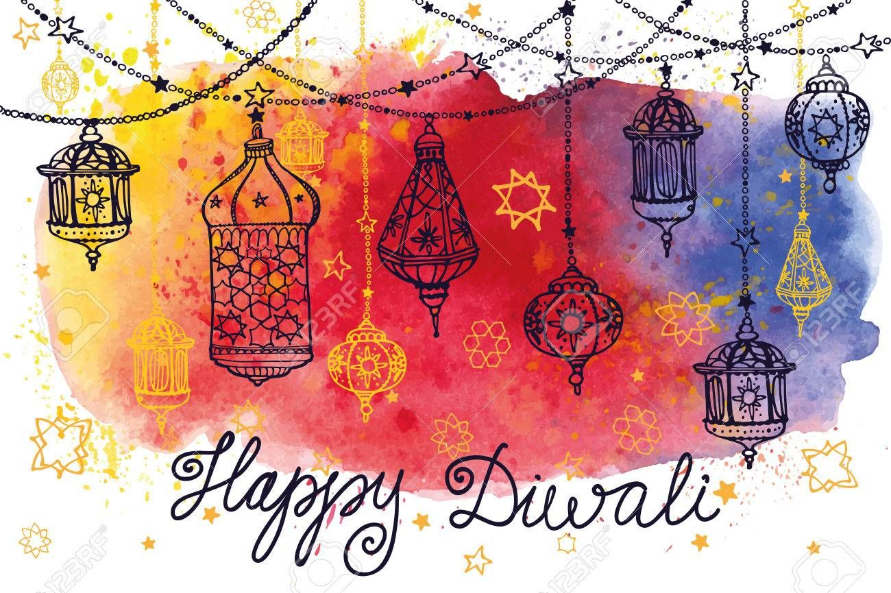 Happy Diwali festival.Traditional hanging lamp in Doodle style.Watercolor..
