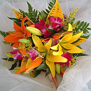 Tropical Flowers Wedding Bouquet