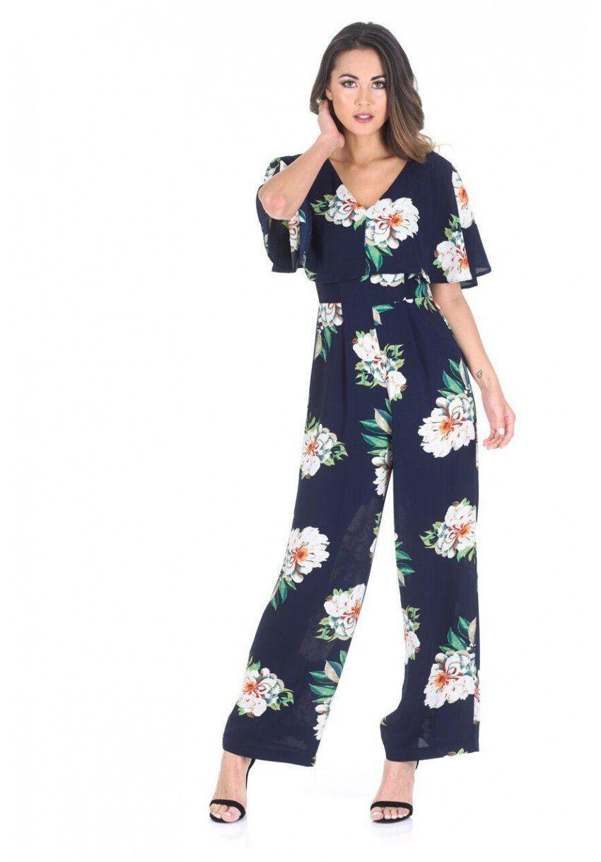 925f9be0636 Alexandra Navy Floral Jumpsuit with Cape Detail  shoponline  dress   instafashion  lovevirgo
