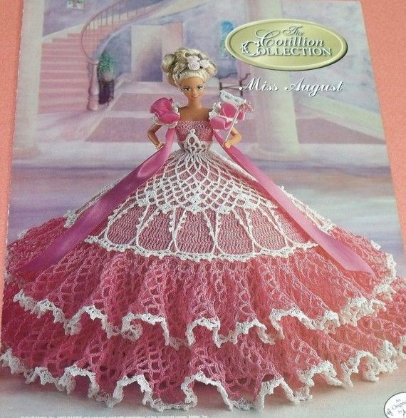 Miss August Cotillion Crochet Barbie Doll Dress Pattern By Annies