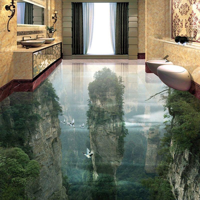 Custom Photo Floor Wallpaper 3d Cliffs Mountain Peaks Living Room Bathroom 3d Floor Tiles Mural Pvc Self Adhesive Wallpa Badezimmer Boden Badezimmer 3d Tapeten