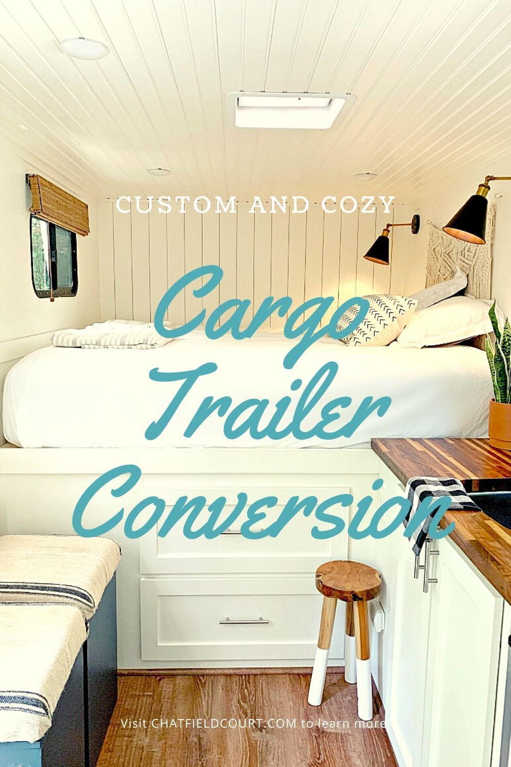 A cargo trailer conversion of a 7x16 trailer. It took 18 months to completely build a custom trailer and turn it into a comfortable and cozy RV fit for glamping and camping adventures.
