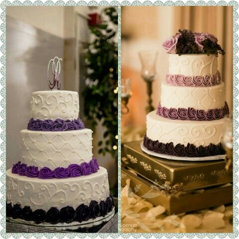Inspiration on the right. Actual wedding cake on the left. I think the baker did a great job. It was deelish too!