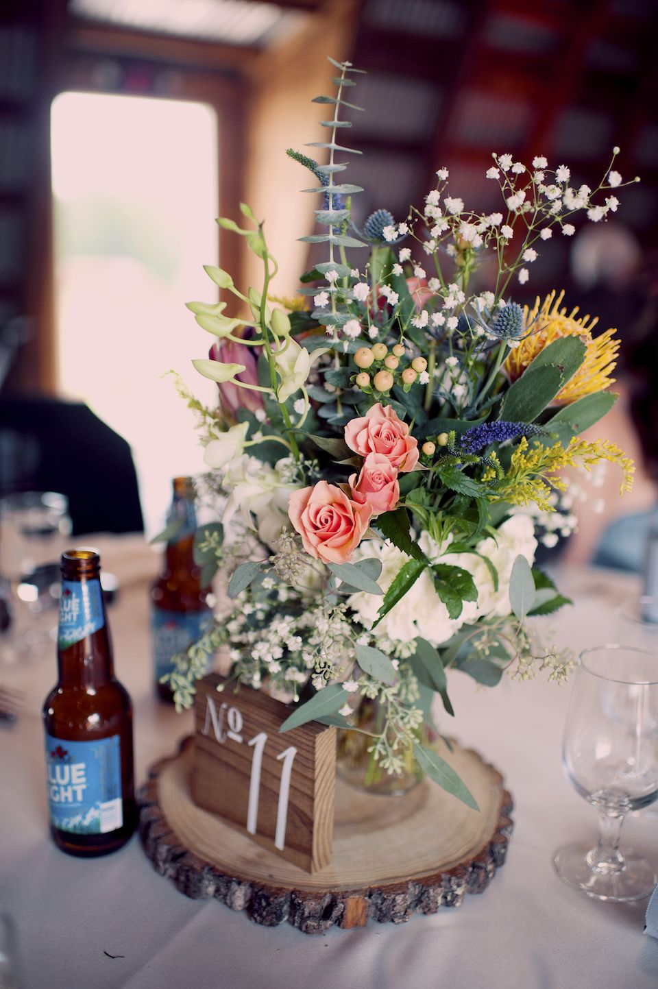 Rustic Barn Wedding Centerpieces Joyeuse Photography