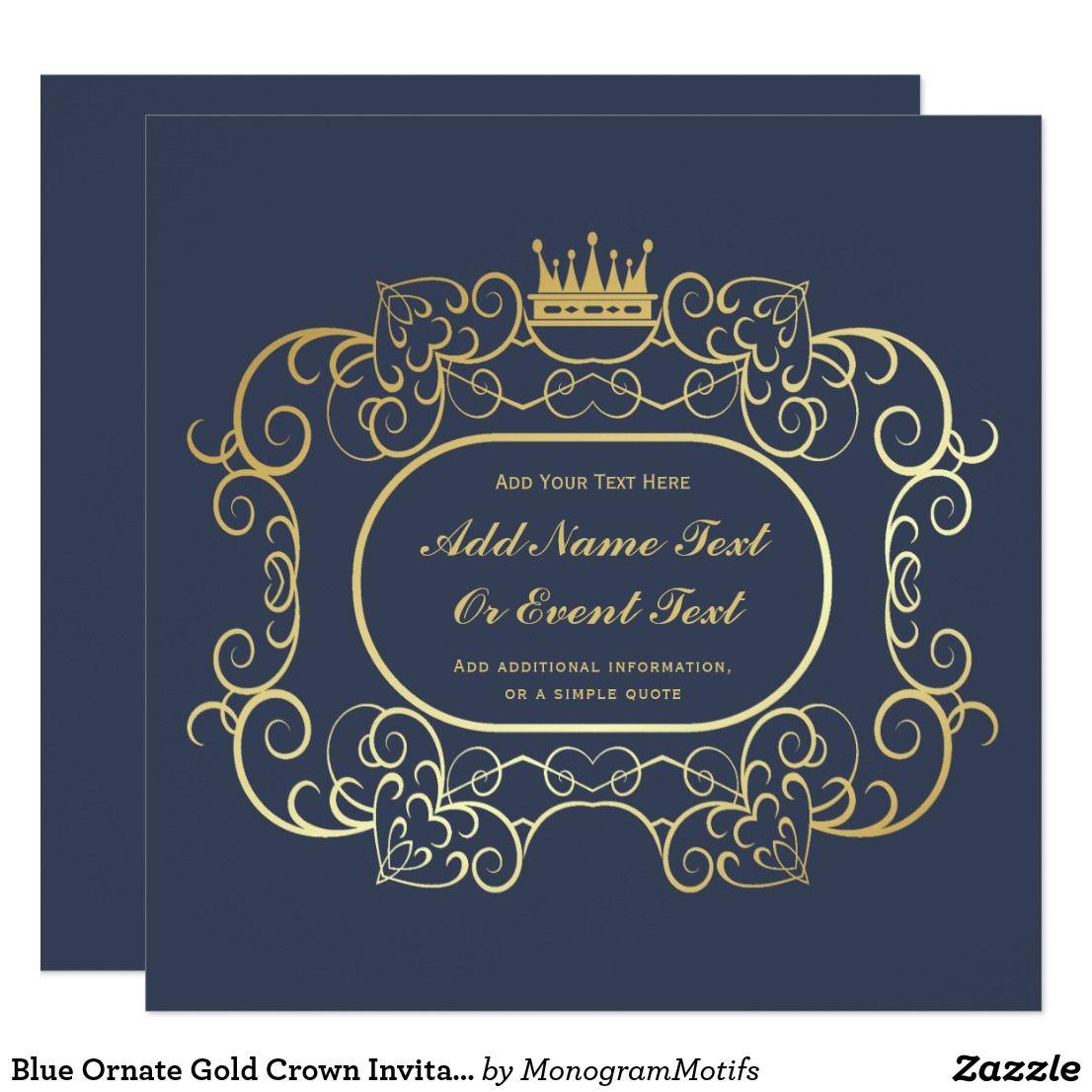 blue ornate gold crown invitation template in 2018 invitation