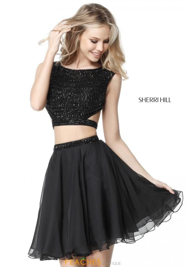 Beaded Sherri Hill 51295 Two Piece Short Little Black Cocktail Party Dress