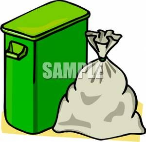 Green Trash Can With A Trash Bag Beside It Royalty Free Clipart Picture Drawing Bag Clip Art Trash Bag
