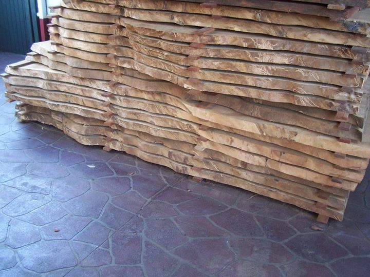 This is carefully cut slab of Spotted Gum timber stacked out
