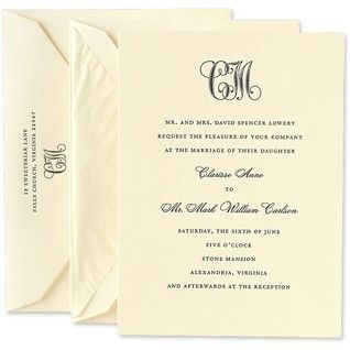 Letterpress Embassy Ecruwhite Monogrammed Invitation Set Crane And Co