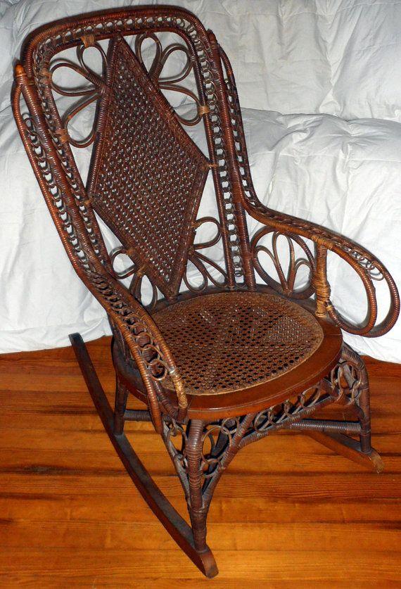 Intricate Antique Rattan Wicker Rocking Chair By Domesticplatypus