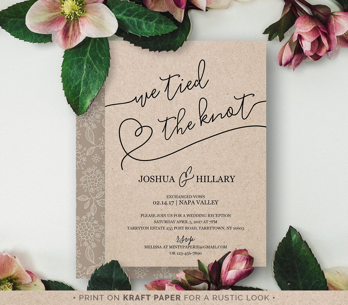 Printable Elope Announcement We Tied The Knot Rustic Heart Wedding Elopement Invitation Instant Fully Editable Diy Nc 103el