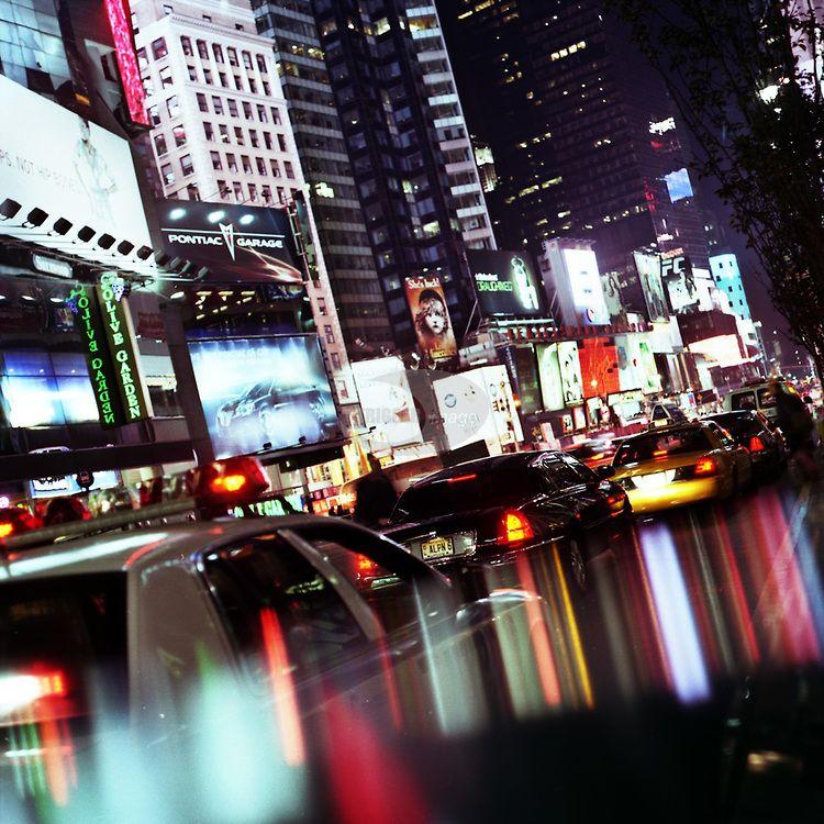 A night street scene in New York