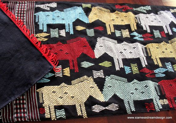 Table Runner In Laos Woven Cotton Colorful Horses by SiameseDreamDesign,  #Eclectic #Decor #horses #Laos