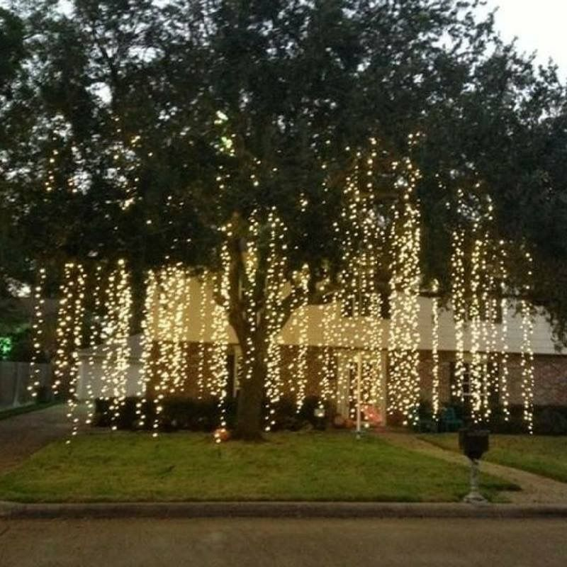 Hang lights from trees or inside from crossbars to make a