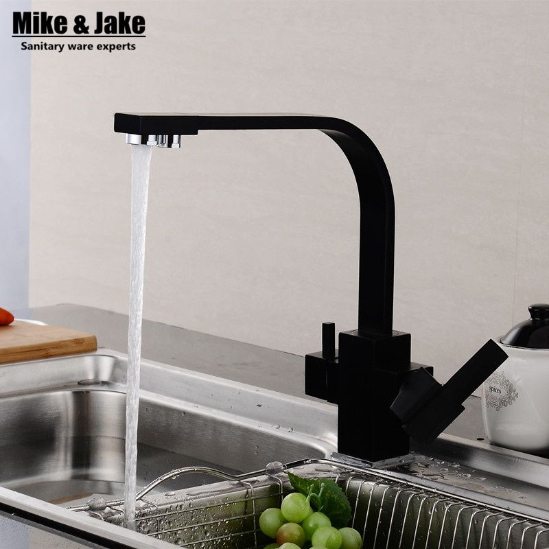 Reviews Dual function 3 way water filter square kitchen faucet ...