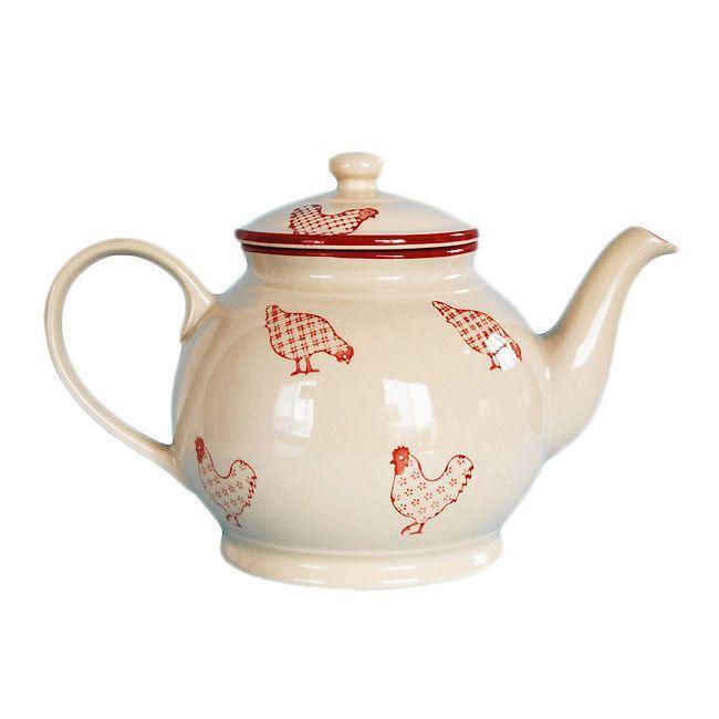 Country Kitchen Ramona: Barnyard Style Red/ Cream Tea/ Coffee Pot (1)