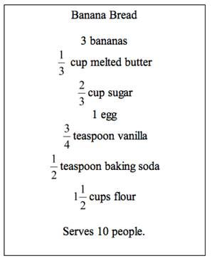 Recipes that deal with fractions, real world fraction