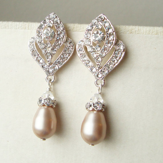 Champagne Pearl Wedding Earrings Vintage Style Bridal Art Deco Rhinestone Ivana