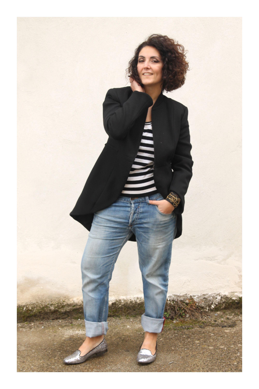 a7dff952c2d Básicos para un closet chic  TiZKKAmoda  blazer  negro  blusa  rayas  jeans   flats  plateado  look