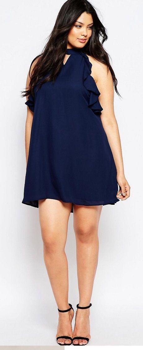 46681ec9f663e Plus Size Sleeveless Frill Detail Shift Dress