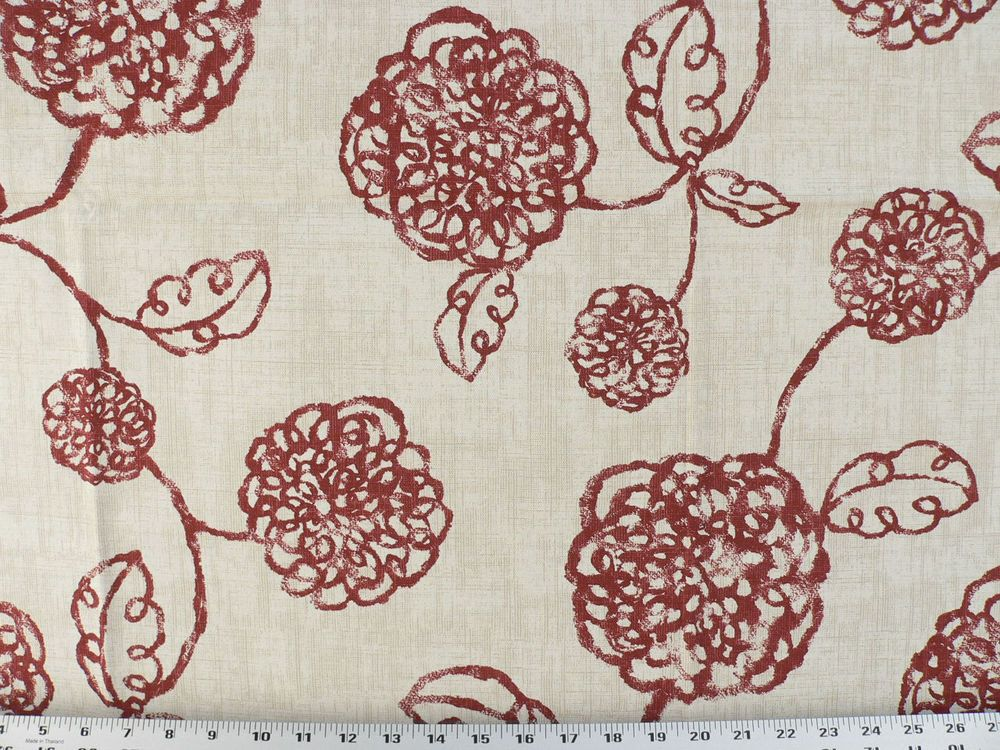 Drapery Upholstery Fabric Contemporary Cotton Floral - Burgundy on Tan & Ivory