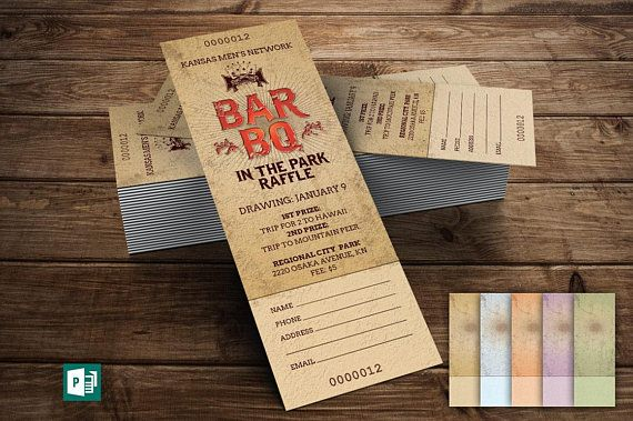 BarbeQue Raffle Ticket Template Includes 5 Background Files Printing Microsoft Publisher