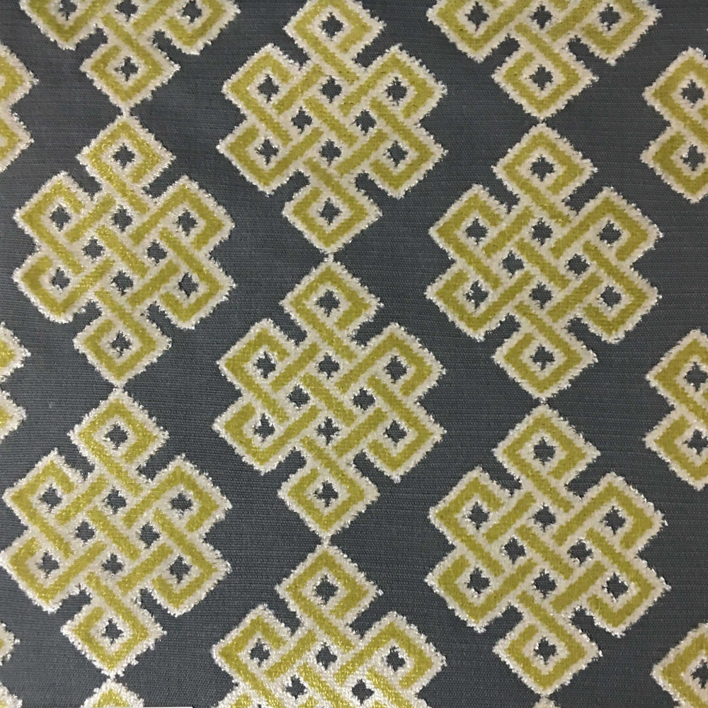 Wicklow - Geometric Pattern Cut Velvet, Drapery & Upholstery Fabric