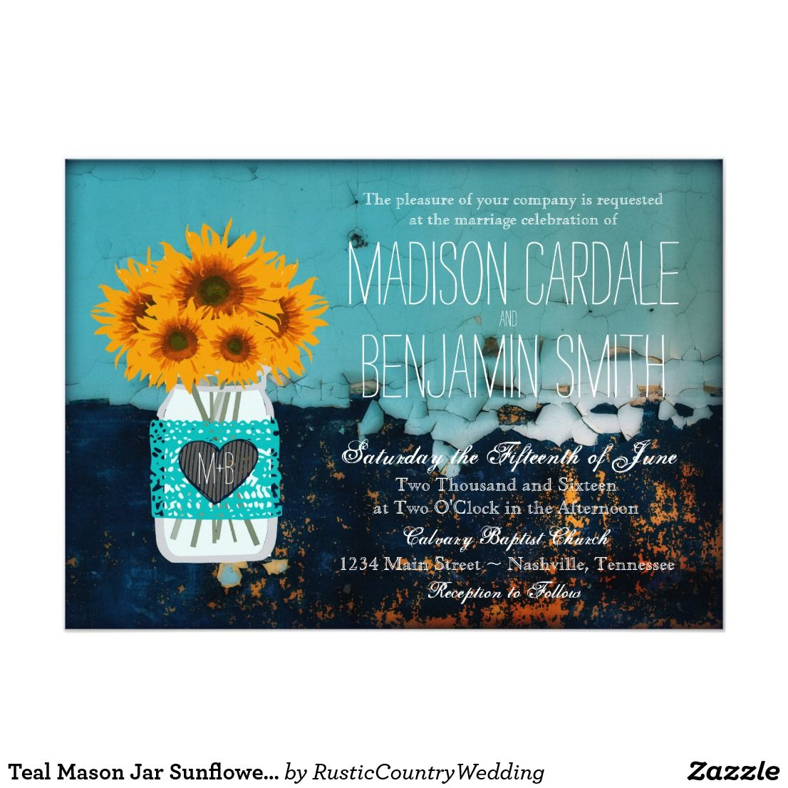 Teal Mason Jar Sunflowers Rustic Wedding Invites Mason Jar Wedding