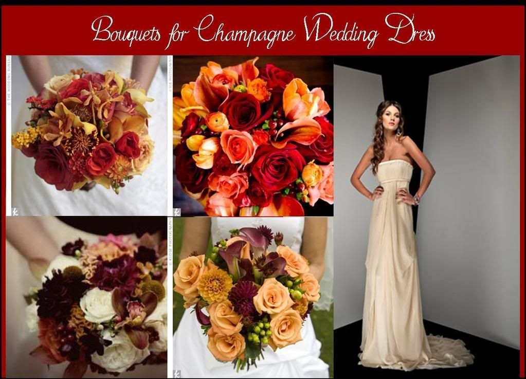 Burgundy and champagne wedding colors wedding ideas for Flowers for champagne wedding dress