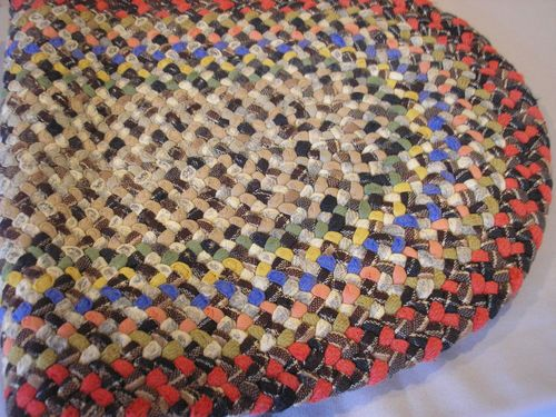 Vintage Hand Made Small Oval Braided Rug