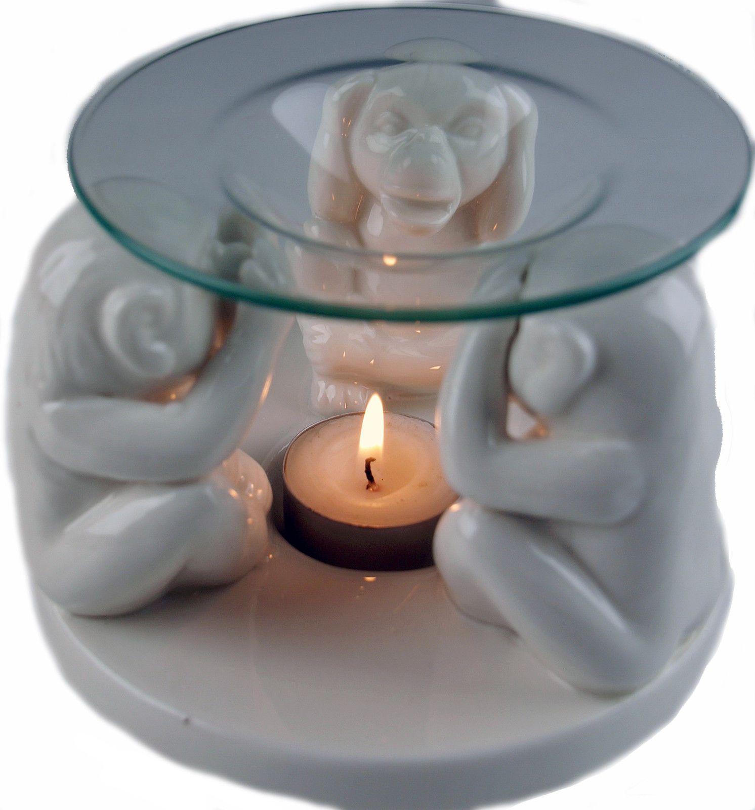 White 3 Wise Monkeys Ceramic Oil Burner