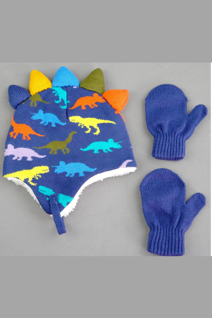cd286507ee4 Kids boys dinosaur winter hat and gloves set  ad