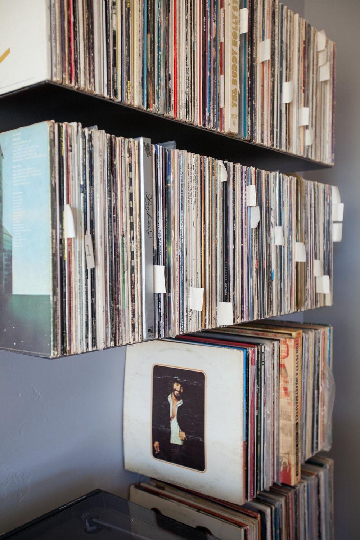 Floating metal record shelves, Zimm Metalworks
